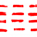 12 Red Grunge Brush Stroke (PNG Transparent)