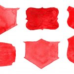 6 Red Watercolor Label (PNG Transparent)