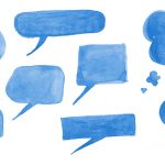 8 Blue Watercolor Speech Bubble (PNG Transparent)