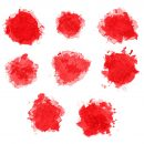 8 Red Watercolor Blob (PNG Transparent)