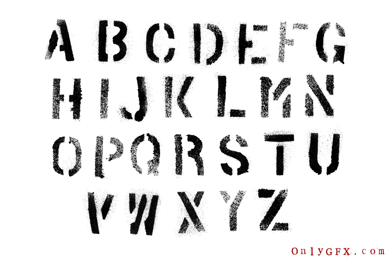 Grunge Stencil Spray Paint Alphabet Png Transparent Svg
