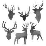 6 Watercolor Deer Silhouette (PNG Transparent)