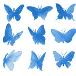 9 Watercolor Butterfly Silhouette (PNG Transparent)