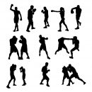 10 Boxing Silhouette (PNG Transparent)