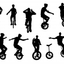 10 Unicycle Silhouette (PNG Transparent)