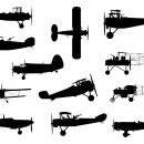 12 Old Military Airplane Silhouette (PNG Transparent)