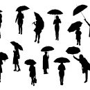 12 People With Umbrella Silhouette (PNG Transparent)