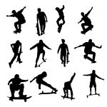 12 Skateboarder Silhouette (PNG Transparent)