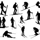 12 Skiing Silhouette (PNG Transparent)
