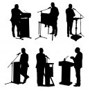 6 Politican On Podium Silhouette (PNG Transparent)