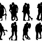 8 Couple Kissing Silhouette (PNG Transparent)