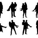 8 Man Lifting Woman Silhouette (PNG Transparent)