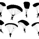 8 Parachute Skydiver Silhouette (PNG Transparent)