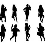8 Woman Taking Selfie Silhouette (PNG Transparent)