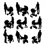 9 Mother And Baby Carriage Silhouette (PNG Transparent)