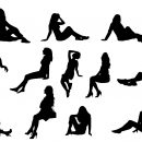 12 Woman Sitting Silhouette (PNG Transparent)