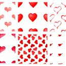 6 Heart Tile Background Pattern (PNG Transparent)