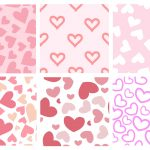 6 Pink Heart Tile Background Pattern (PNG Transparent)