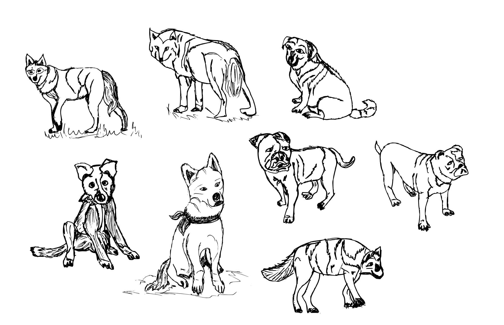 8 Dog Drawing (PNG Transparent) | OnlyGFX com