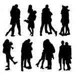 8 People Hugging Silhouette (PNG Transparent)