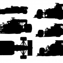 6 Formula 1 Racing Car Silhouette (PNG Transparent)