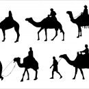 5 Camel Rider Silhouette (PNG Transparent)