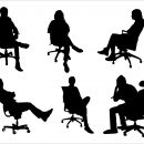 6 Office Chair Sitting Silhouette (PNG Transparent)