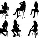 6 Woman Posing Chair Silhouette (PNG Transparent)
