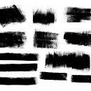 12 Grunge Paint Roller Stroke Banner (PNG Transparent)