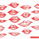 18 Hand Drawn Lips Vector (EPS, SVG)