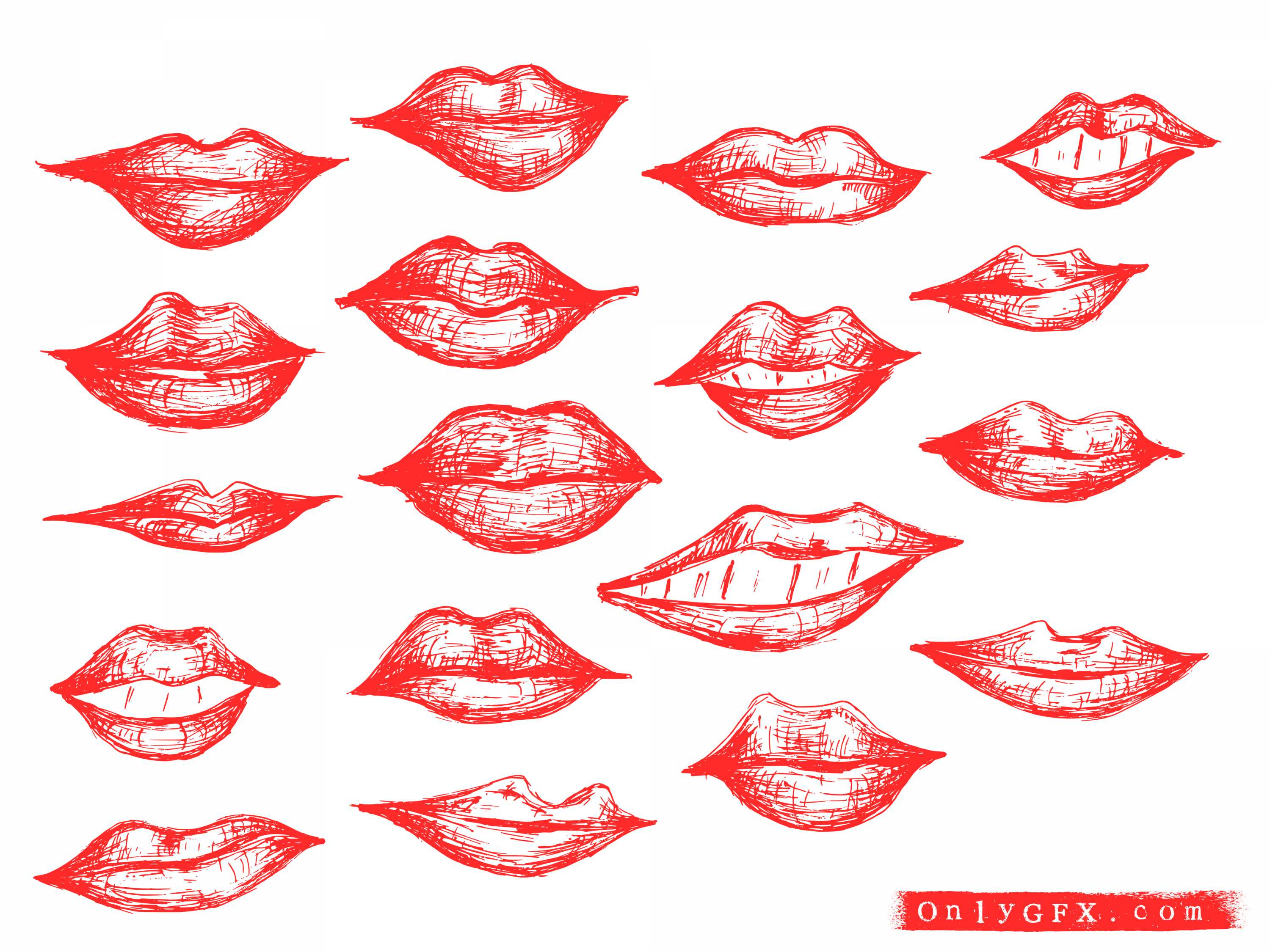 18 Hand Drawn Lips Vector (EPS, SVG) | OnlyGFX.com