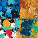 4 Colorful Splatter Pattern Tile (PNG)