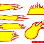 6 Fire Flame Banner Vector (EPS, SVG, PNG Transparent)