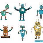 6 Silly Cartoon Robot Vector (EPS, SVG, PNG Transparent)