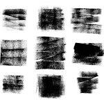 9 Grunge Paint Roller Stroke Background (PNG Transparent)
