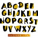 Cartoon Brush Stroke Alphabet Vector (EPS, SVG)
