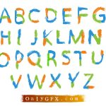 Colorful Brush Stroke Alphabet Vector (EPS, SVG)