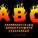 Fire Flame Alphabet (EPS, SVG)