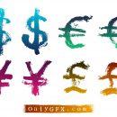 Grunge Currency Symbols Vector (EPS, SVG)