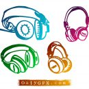 Grunge Headset Vector (EPS, SVG)