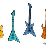 Electric Guitar Drawing Vector (EPS, SVG, PNG Transparent)