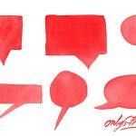 Red Watercolor Speech Bubble (PNG Transparent)
