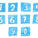 Watercolor Numbers In Square (PNG Transparent)