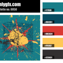 Vintage Blue Red Yellow Color Palette