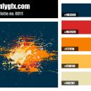 Vintage Colorful Blue Orange Red Color Palette