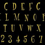 Gold Glitter Alphabet Fancy Font (PNG Transparent)