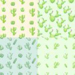 Watercolor Cactus Pattern Background (JPG)