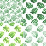 Watercolor Monstera Leaf Pattern Background (PNG)