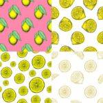 Lemon Pattern Drawing Background (JPG)