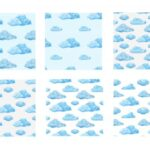 Watercolor Cloud Pattern Background (JPG)